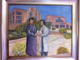 Una pintora regala un cuadro a José Carlos Bermejo